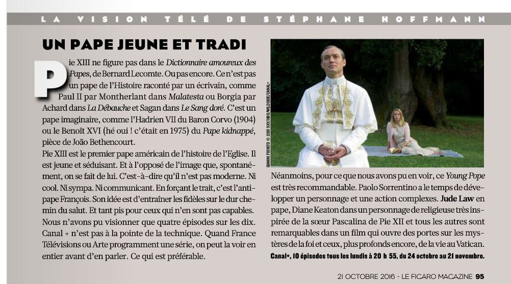 The Young Pope : critique du Figaro Magazine